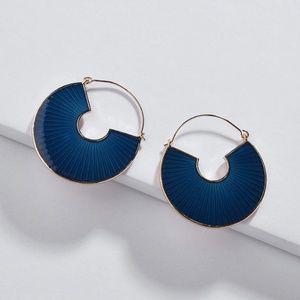 Deco Inspired Enameled Circle Hoop Earrings